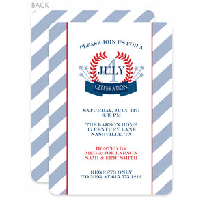 4th of July Invitation, Classic Laurel Design with Stripes, PIPSY.COm