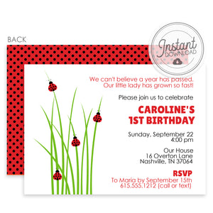 Ladybug Birthday Invitations (DIY Printable)