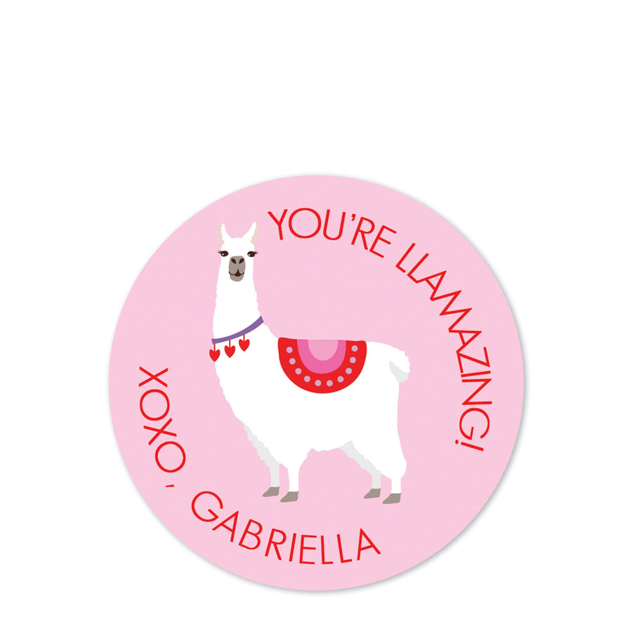 Llama Valentine's Day sticker | Round | Treat bags | PIPSY.COM