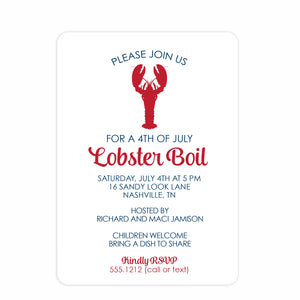 Lobster Boil 4th of July Invitation