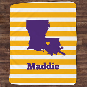 Louisiana Throw Blanket | Personalized | Purple | Pipsy.com