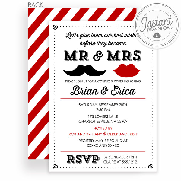 Mr and Mrs Bridal Shower Invitation, DIY Editable Templett Instant Download, PIPSY.COM