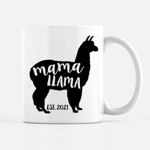 mama llama pregnancy announcement coffee mug, with custom date, PIPSY.COM