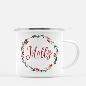 Simple Holiday Wreath Camp Mug, Personalized, Silver Lip