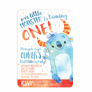 Monster Watercolor Birthday Invitation | Swanky Press (front view)