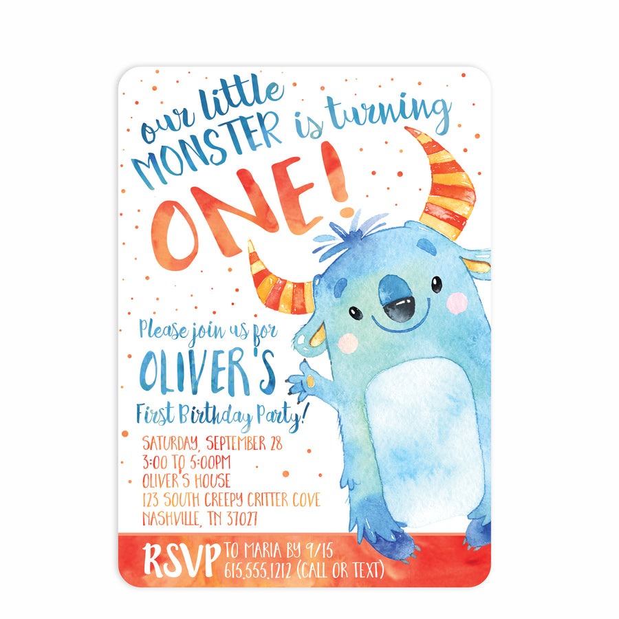 Monster Watercolor Birthday Invitation | Swanky Press (main view)