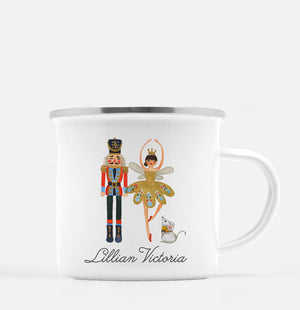The Nutcracker along with ballerina and mouse in a beautiful watercolor design - on our 12oz white enamel with silver lip camp mug | PIPSY.COM
