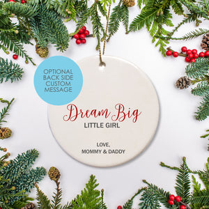 Personalized Ceramic Round Ornament Little Girls - leave custom gift note or babies birth stats