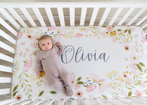 personalized floral crib sheet, PIPSY.COM