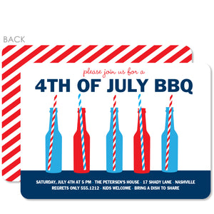Bottles and Straws 4th of July Party Invitation, PIPSY.com