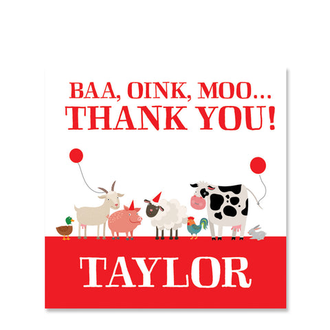 Party Animals Farm Gift Sticker, Red (Printed)
