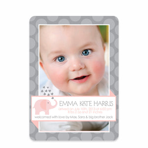 Pink and Gray Elephant Birth Announcement | Swanky Press | Front
