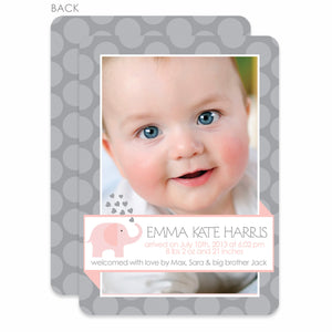 Pink and Gray Elephant Birth Announcement | Swanky Press