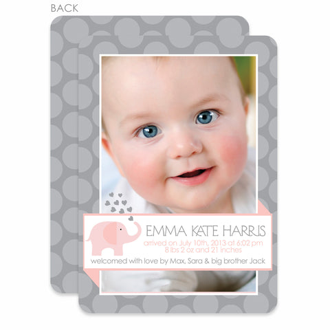 Pink And Grey Elephant Birth Announcement