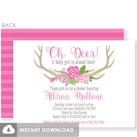 Oh Deer Pink Baby Shower Invitation | Templett Invitation | Fully Editable and Customizable | Instant Download | PIPSY.COM