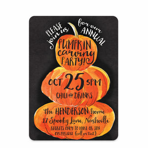 Pumpkin Stack Halloween Invitation (Printed)
