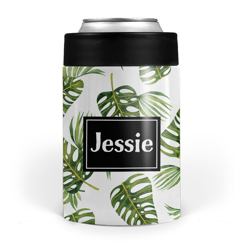 palm leaf tropical double walled stainless steel can cooler, pipsy.com