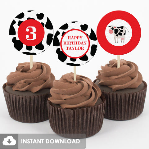 Party Animals Farm Cupcake Toppers, Red (DIY Printable)