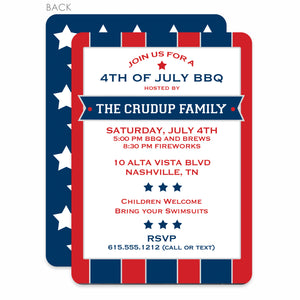 4th Of July Invitation, Patriot Stars and Stripes, PIPSY.COM