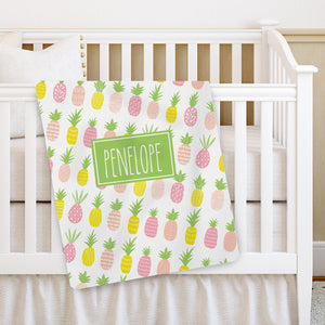 Pink Pineapple Personalized Baby Stroller Receiving Blanket, PIPSY.COM