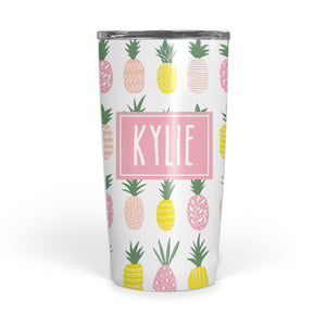 pink pineapple double-walled stainless steel coffee mug tumbler, PIPSY.COM