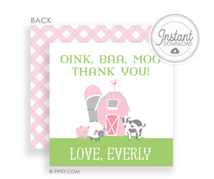 DIY Templett Favor Tags, Barn, Pig, Cow, Sheep, Pinki Gingham, PIPSY.COM
