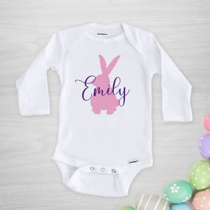 Bunny Silhouette Personalized Gerber Onesie®, Pick your colors, long sleeved