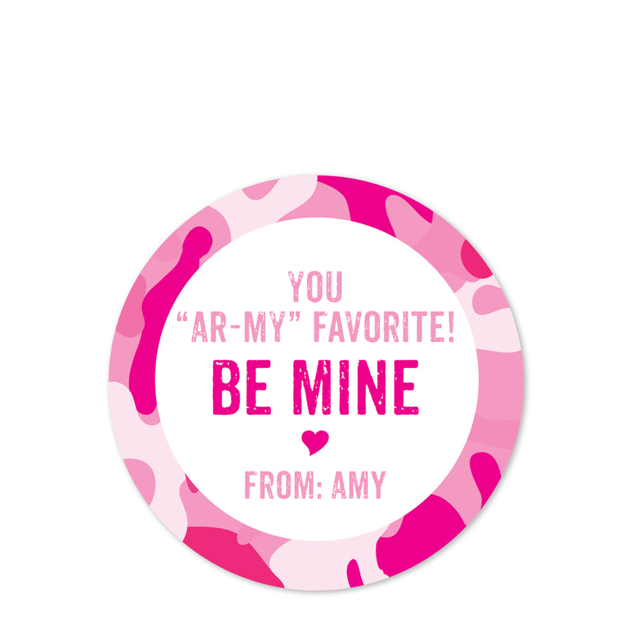 Pink camouflage valentine sticker | ARMY | Pipsy.com