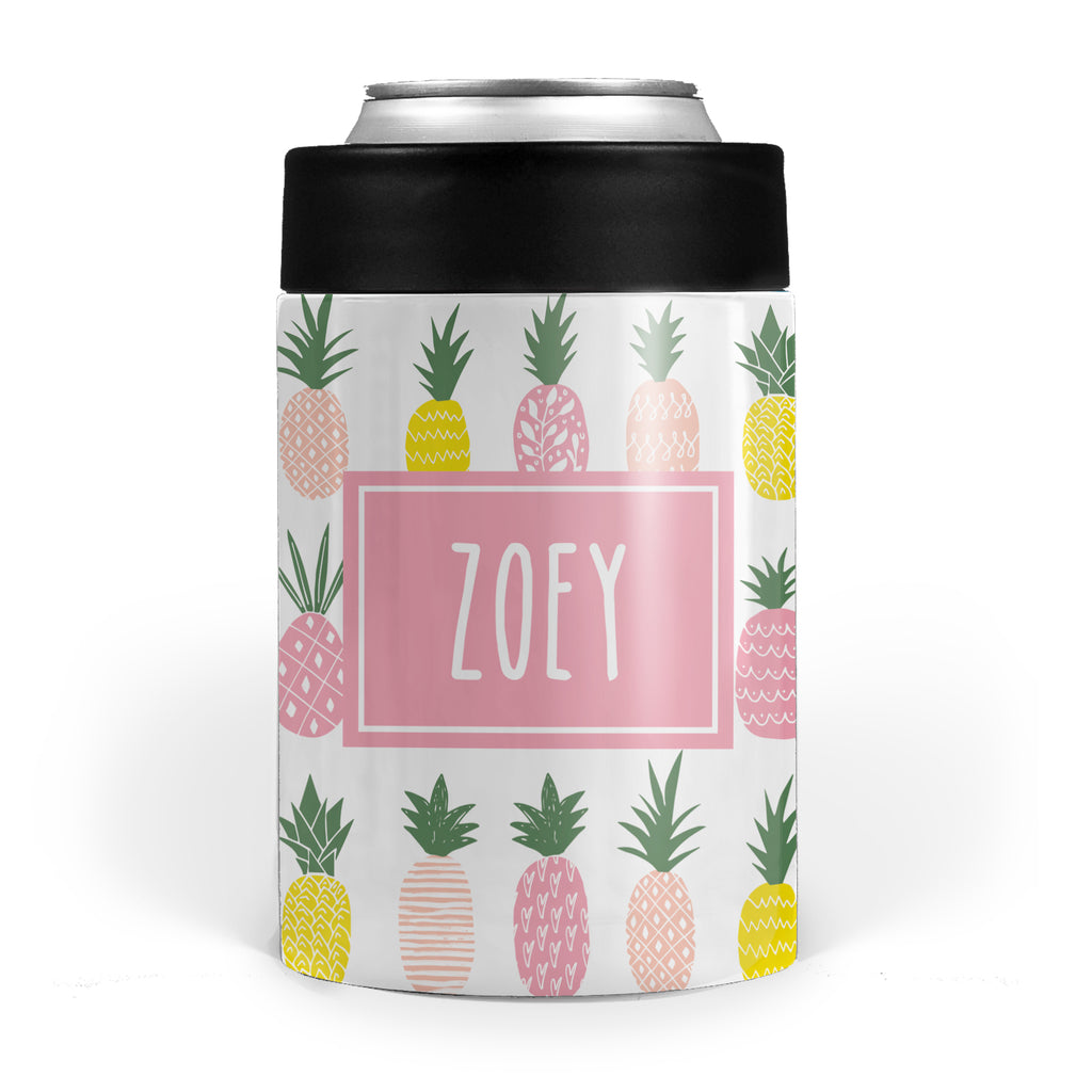 Pink Pineapple Koozy double walled stainless steel, can cooler, PIPSY.COM
