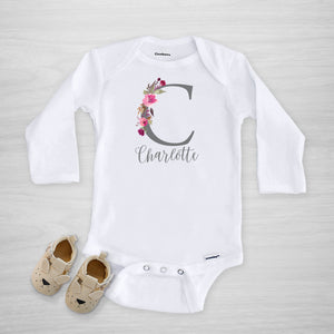 Pink Watercolor Initial Personalized Gerber Onesie, long sleeved