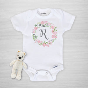 Pink Floral Wreath with Initial Gerber Onesie, short sleeved