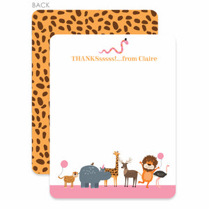 Zoo Thank you Notecards (Pink) | Swanky Press, main image