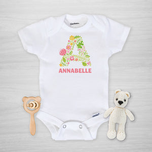 Pink Floral Initial Onesie® - Personalized