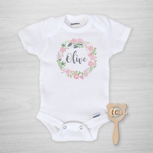 Pink Floral Wreath Personalized Gerber Onesie, short sleeved