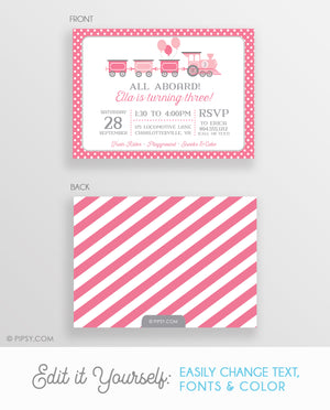 Train Invitation Pink (DIY Printable)