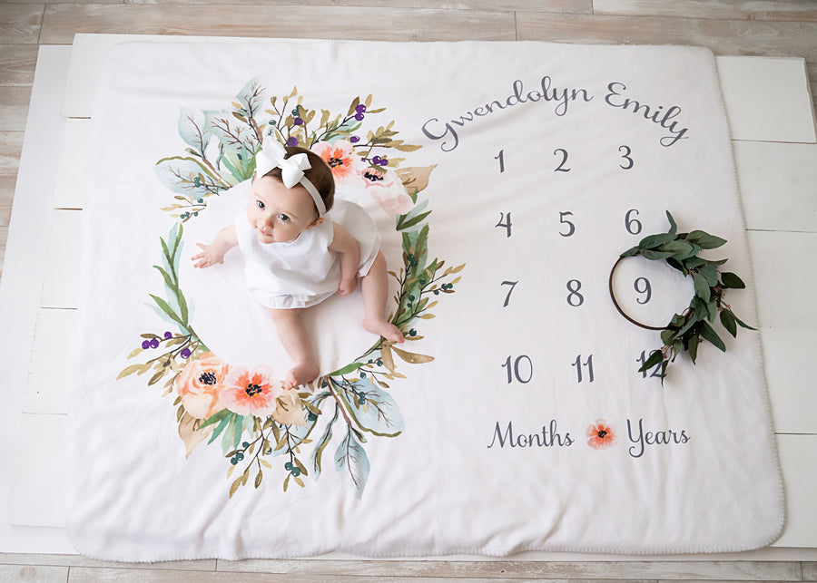 Seeded Eucalyptus Greenery Gender-Neutral Milestone Blanket Marker Wreath | PIPSY.COM