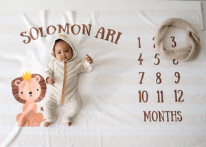 Lion Baby Milestone Blanket, King of the Jungle, Crown, PIPSY.COM