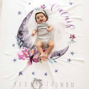 Personalized Moon Milestone Blanket, Super Soft Fleece, Celestial, Luna, Girl | PIPSY.COM
