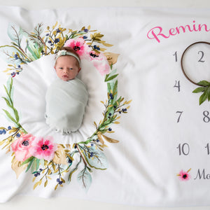 Olive wreath milestone baby blanket with pink flowers | Pipsy.com