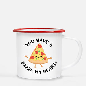 Kids Metal 12 oz camp mug | you have a pizza my heart | White enamel with red lip | Pipsy.com