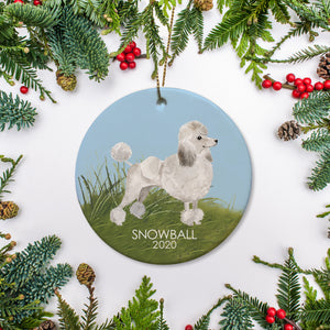 White Poodle Dog, profile watercolor rendering.  Standing on grass with blue sky.  Personalize with name and year of your choice. Christmas Ornament | Pet Memorial | Pipsy.com