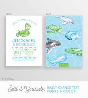 Pool Party Invitations Blue (DIY Printable)