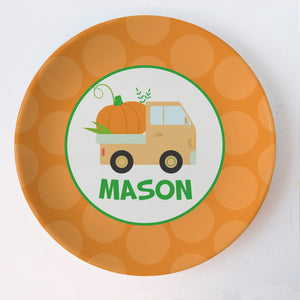 Personalized Halloween Plate, Thermosaf Polymer (no bpa, melamine or formaldehyde), Polka dots, Oven and dishwasher safe, lasts for years, PIPSY.COM