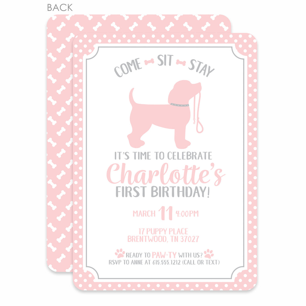 Puppy Party Birthday Invitations, Pink (Printed) – Pipsy