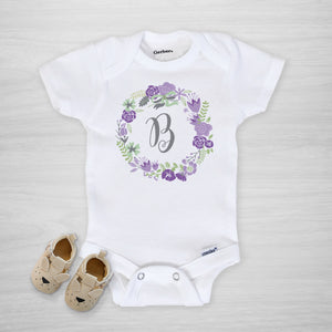 Purple Floral Wreath Personalized Gerber Onesie®, short sleeved
