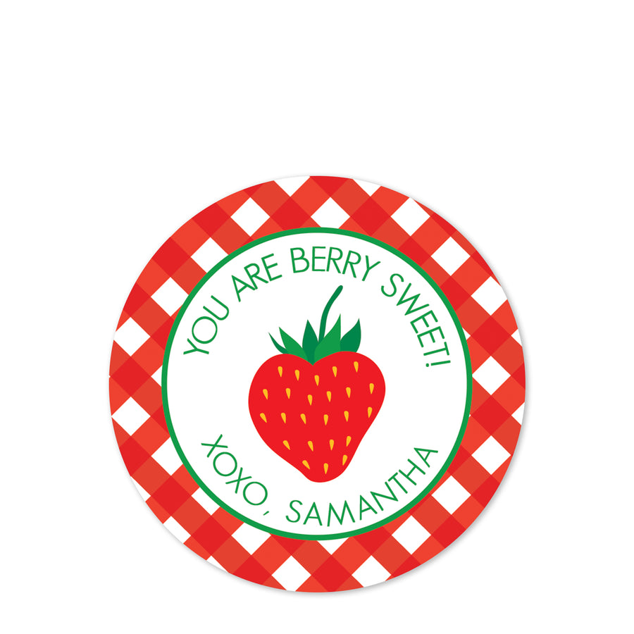 Strawberry Valentine's Day Sticker | Berry Sweet Gingham | PIPSY.COM