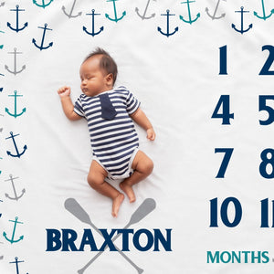 Scattered Anchors Milestone Blanket | Pipsy.com