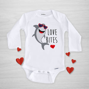 Shark Love Bites Valentine's Day Onesie, Long Sleeved, Pipsy.com