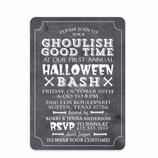 Chalkboard Halloween Invitation (Printed)