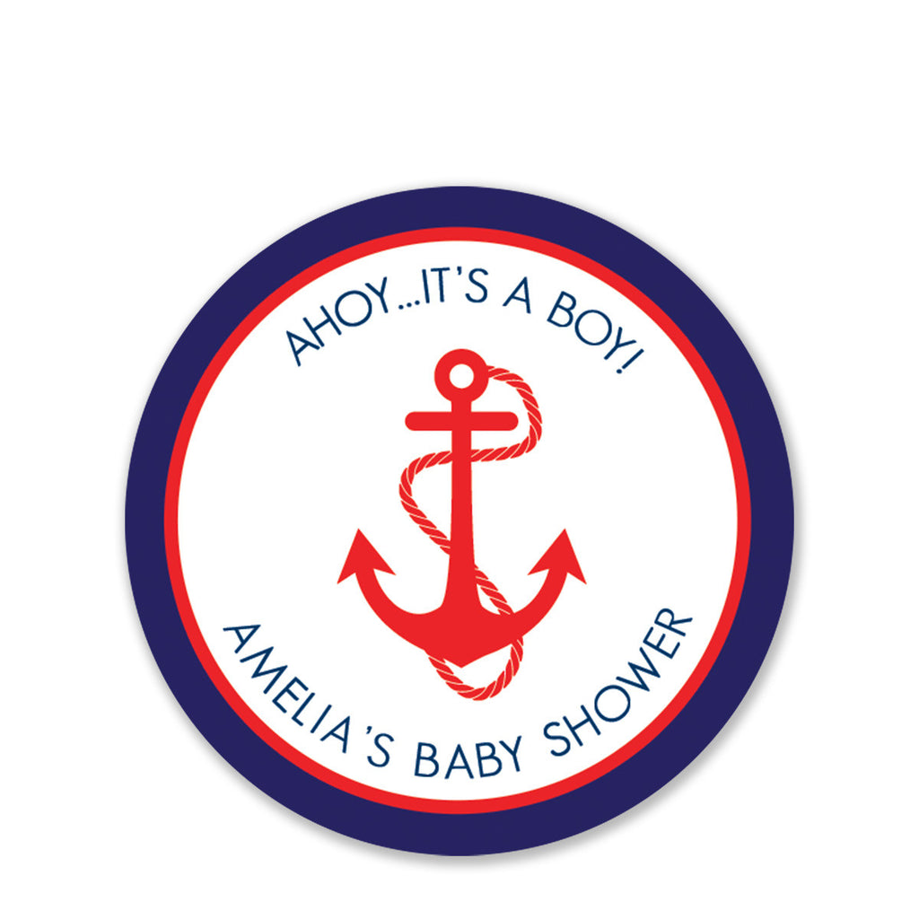 Anchor Baby Shower Favor Stickers